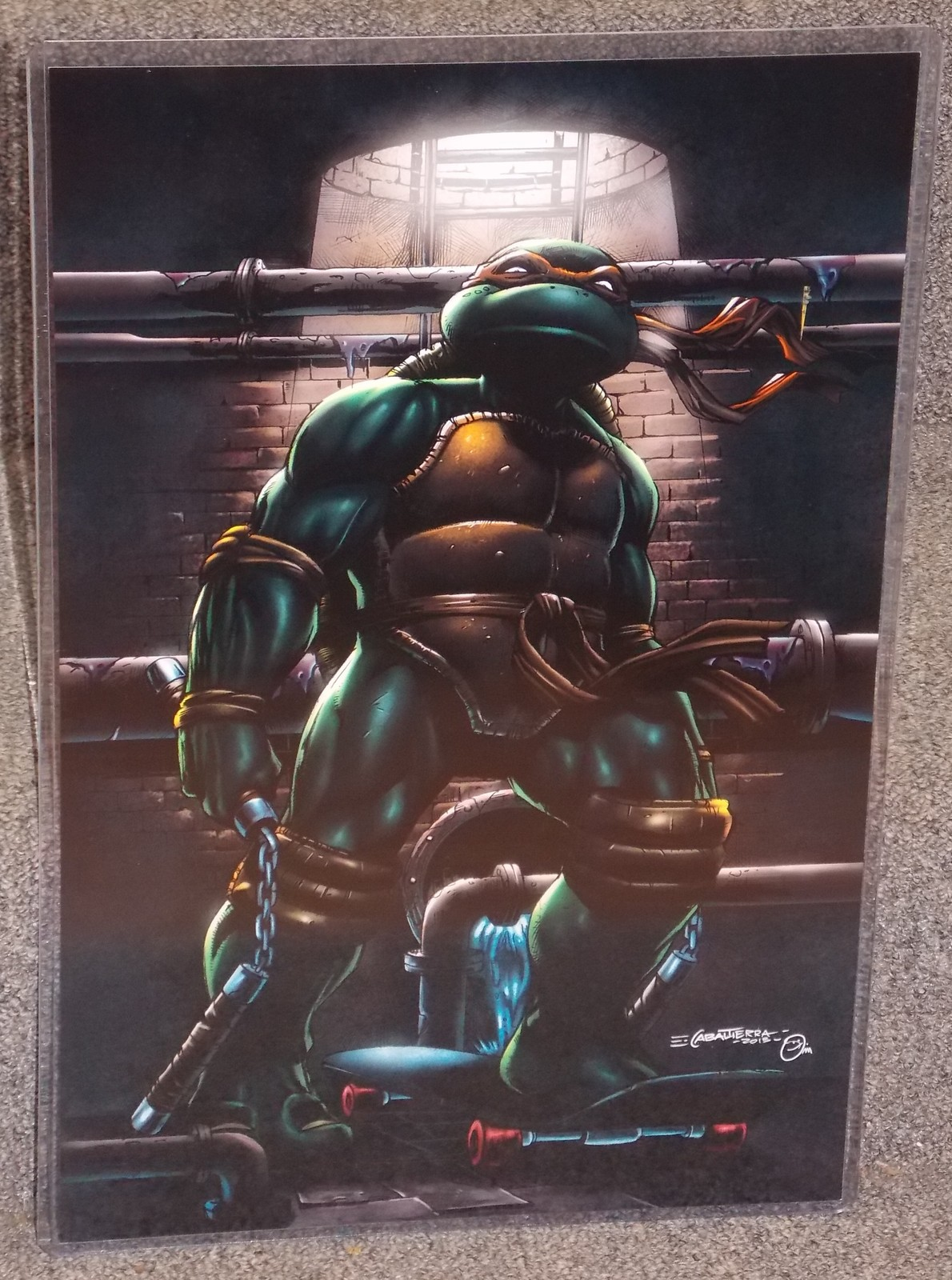 Primary image for TMNT Michaelangelo Glossy Print 11 x 17 In Hard Plastic Sleeve