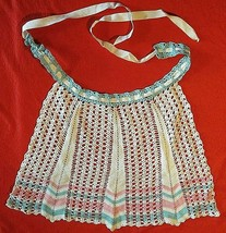 NEW crocheted white, pink, & blue HOSTESS HALF APRON / SKIRT DRESS-UP - $2.96