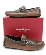 NIB Salvatore Ferragamo Front Brown Woven Leather Gancini Bit Driver Loa... - $345.00