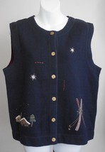 Woolrich L Sweater Vest Black Winter Motif Embroider Ski Snowflakes Cabin Large - $24.47