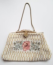 Antique Beaded Purse Vintage Flowers Enameled Clasp Made In France Satin... - $85.00