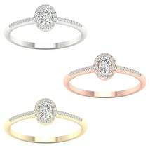 IGI Certified 10k Gold 0.20 Ct TDW Oval Diamond Halo Promise Ring - $389.98