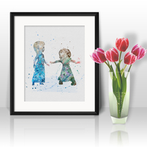 Elza and Anna Frozen Disney Printable Art Prints Poster watercolor Painting - $3.50
