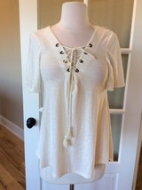 Taylor and Sage Top Beige Lace Up Shirt Cream Partial Open Back XS Womens - $9.99