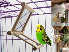 Old Tjikko Bird Swing, Parrot Cage Toys,Swing Hanging Play with Mirror f... - £11.00 GBP