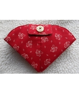 Red Paisley Travel Size handmade folded needlek... - $16.00