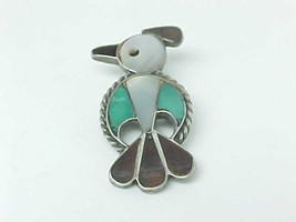 BIRD BROOCH Pin in STERLING Silver with Mother of Pearl and Turquoise - ... - $45.50