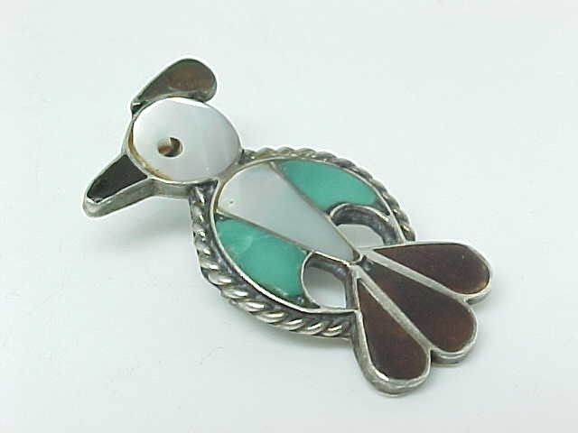 BIRD BROOCH Pin in STERLING Silver with Mother of Pearl and Turquoise - Vintage