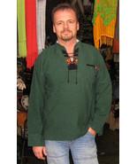 Mens Green Longsleeve Peruvian Folkloric Shirt, 100% Pure Cotton  - $36.00