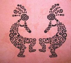 Tribal Kokopelli monochrome cross stitch chart White Willow Stitching - $9.00