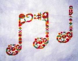 Tribal Music monochrome cross stitch chart White Willow Stitching - $7.20