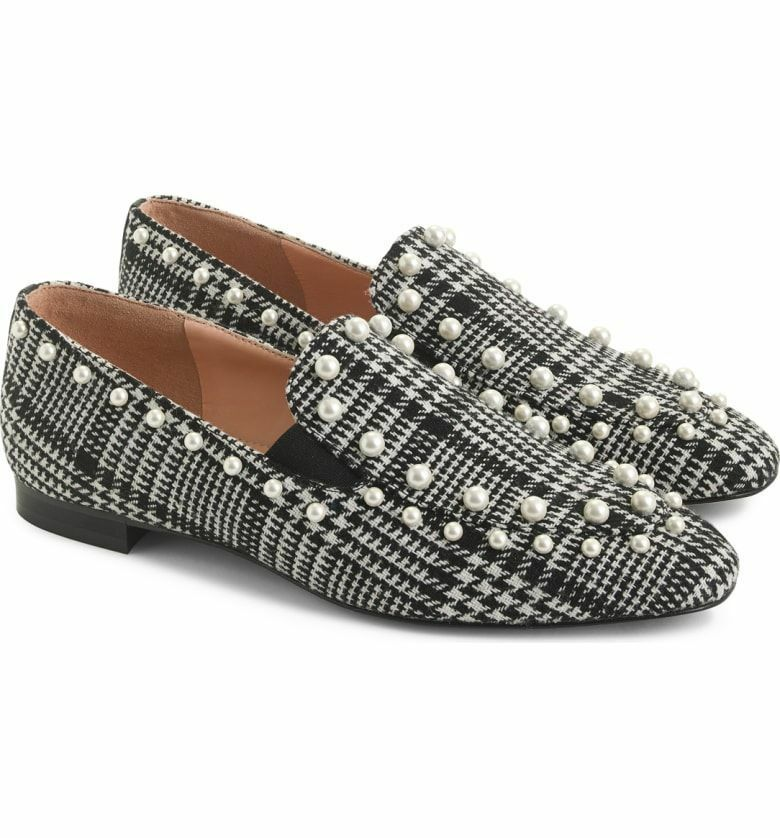 d13acf094fd1 J Crew Pearl Studded Loafers in Glen Plaid Shoes Flats Size 6 Style K3097  New - $110.39