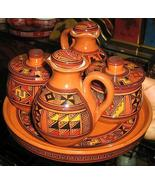 Ethnical ceramic set , hand painted, 1 tray and 4 cans - $96.00