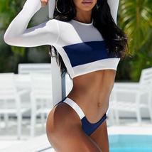 Hot Women Mesh Long Sleeve Bikini Set Push-Up Padded Bra Beach Swimsuit Swimwear image 6
