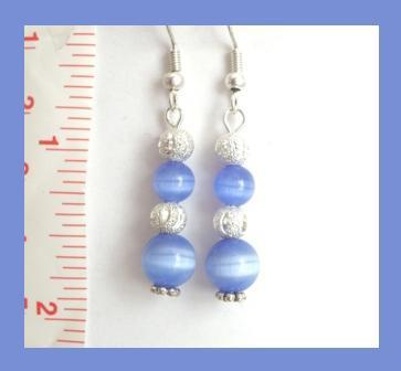 Stunning Blue Cat Eye & Carved Stardust Beaded Earrings