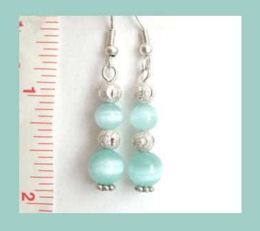 Mint Green Cat Eye & Carved Stardust Beaded Earrings