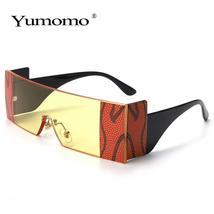 YUMOMO Fashion Oversized Square Rimless Sunglasses Women Brand Designer Flat Big image 4