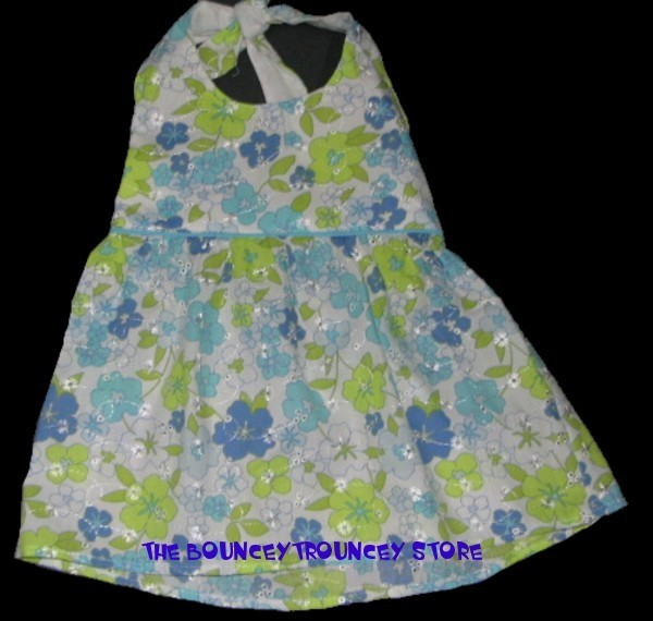 NWT New Baby Aqua FLORAL 2 PC Dress Bloomer Sz 18 M