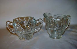 Indiana Glass Clear Willow Creamer and Sugar Bowl - $6.00