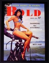 "Bettie Page In Blue Bikini 8.5""X11"" 2 Sided Pin Up 1955 Bold Magazine Photo - $12.86"