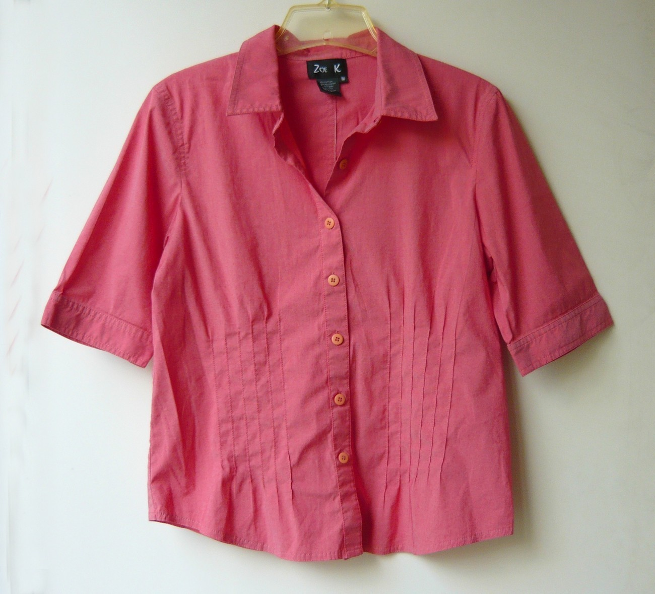 Primary image for Salmon Stretchy Button Down Short Sleeved Blouse sz. m