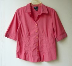 Salmon Stretchy Button Down Short Sleeved Blouse sz. m - $5.00
