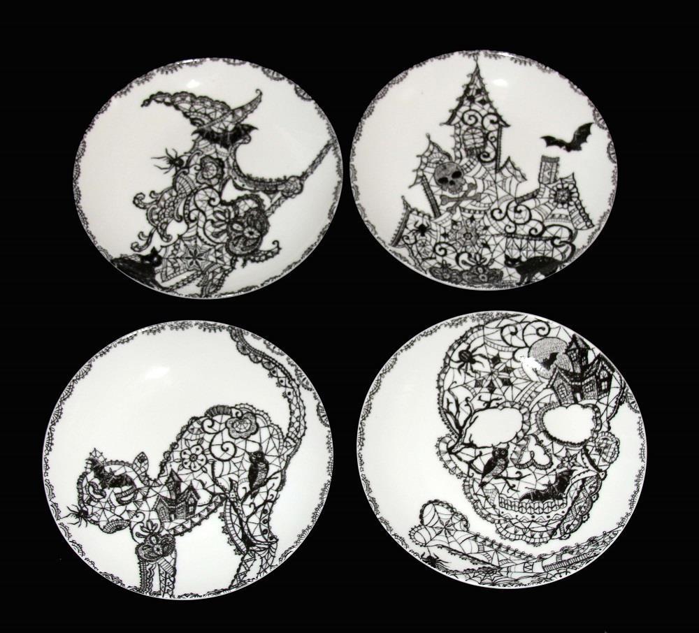 4 222 HALLOWEEN Skulls Script Ghouls Wiccan Appetizer Plates NWT 4 Styles U-Pick