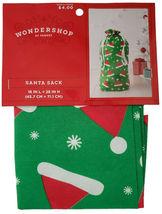 """NEW 18""""x 28"""" Christmas Santa Claus Hats Green Flocked Gift Bag Drawstring Sack image 3"""