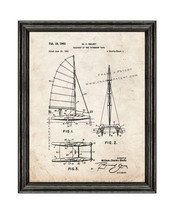 Sailboat Of The Catamaran Type Patent Print Old Look with Black Wood Frame - $24.95+