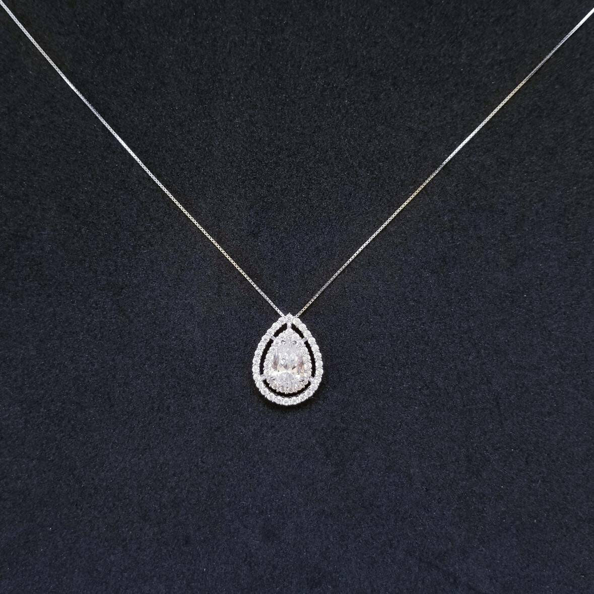 Primary image for Sterling Silver Pear Cut Halo CZ Pendant Free Chain