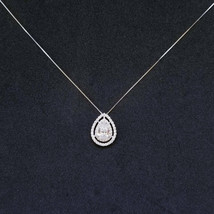Sterling Silver Pear Cut Halo CZ Pendant Free Chain - $67.56