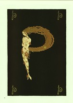 "Erte, Semi-Nude ""P"" from ""The Alphabet"" collection. Vintage 1978 Art Dec... - $14.00"
