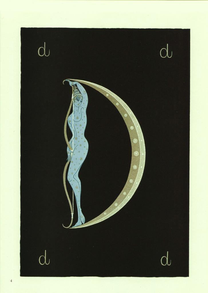 """Erte, Semi-Nude """"D"""" from """"The Alphabet"""" collection. Vintage 1978 Art Deco print"""