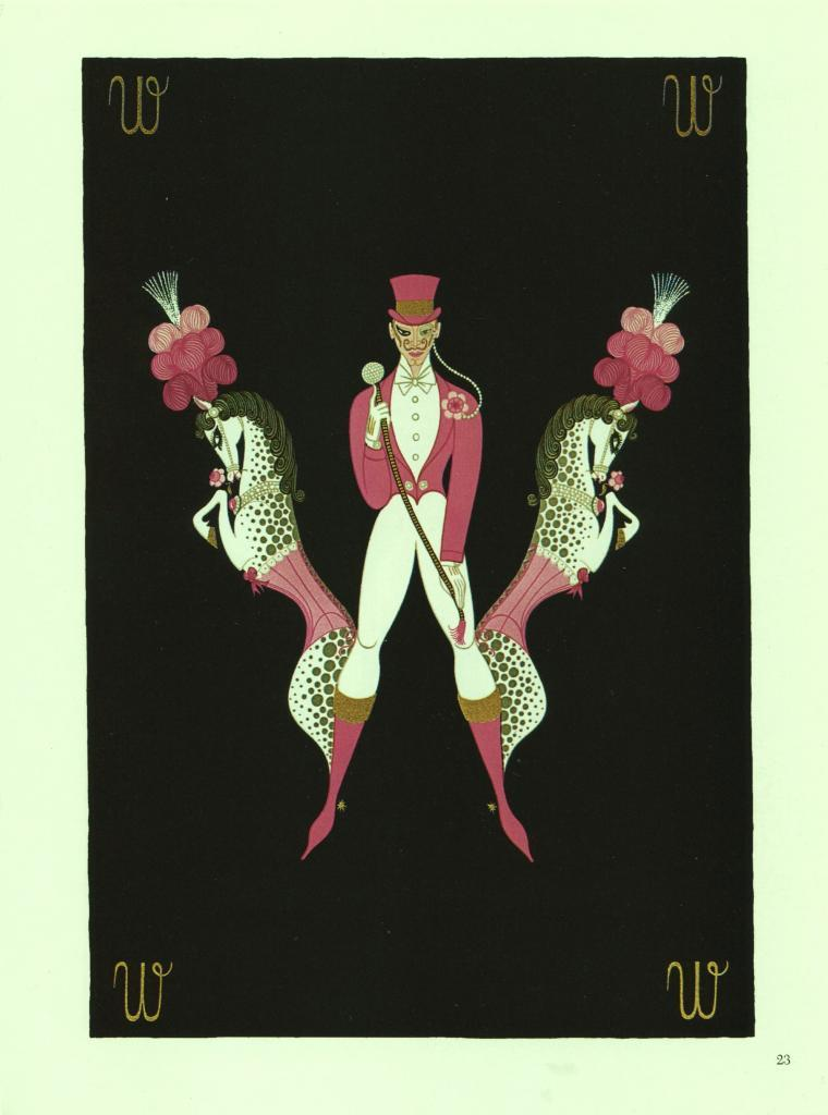 """Erte, Horses & Trainer """"W"""" from """"The Alphabet"""" collection. 1978 Art Deco print"""