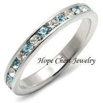 WOMEN'S STERLING SILVER BLUE & CLEAR CRYSTAL ETERNITY BAND RING SIZES 6,... - £14.67 GBP
