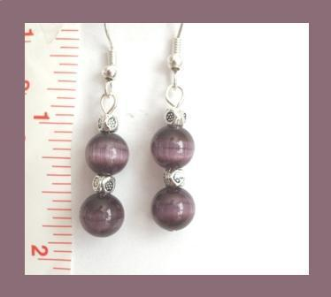 Purple Cat Eye Earrings