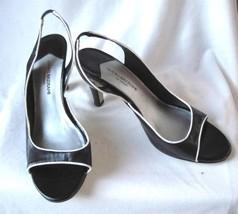 "Black & White Slingback Open Toe Heels Women's Size 7M   3"" Isaac Mizrahi Target - $7.83"