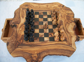 WOODEN CHESS : olive wood chessboard , gift idea , wooden toys , home decoration - £64.71 GBP