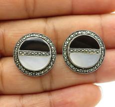 925 Sterling Silver - Vintage Black Onyx & Mother Of Pearl Stud Earrings - E6815 - $47.08