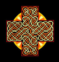 CELTIC SUN CROSS t-shirt; 4 colors on black 100% cotton - $9.99