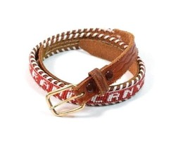 Vtg 60s GRAND CANYON Brown Leather Southwestern Beaded Skinny Belt Women... - $24.74