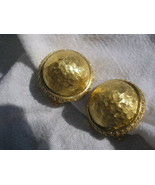 Button Design Sterling Silver  & Gold CZ clip on Earrings Designer NEW - $45.00