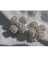 Flower Design Sterling Silver CZ  Earrings Designer NEW - $45.00