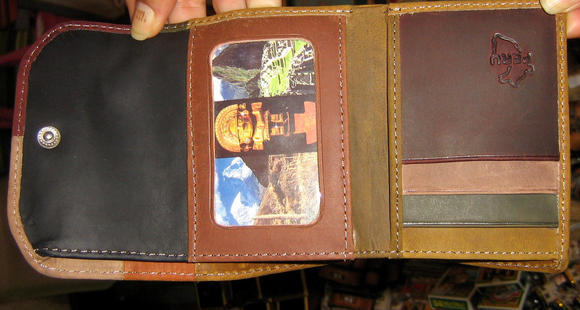 Wallet, purse made of pure leather,Peru design