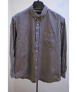 Club Room Mens XXL 2XL Shirt Blue Yellow Plaid Check Long Sleeve - $21.54