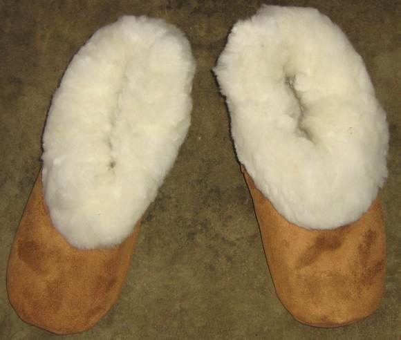 House Shoes, Slippers Made Of Merinowool and Leather Bedshoes