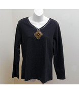Denim & Co S Top Black Peasant Knit Shirt Metal Lace Detail Long Sleeves... - $19.59