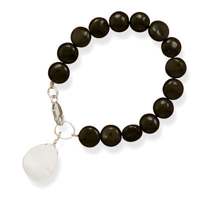 Womens Black Onyx Coin Bracelet with Shell Drop