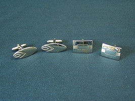 Lot of 2 pair Vintage Anson Cufflinks silver Art Deco square & oval Mens... - $8.55