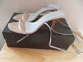Kenneth Cole Laced Open Toe & Back Heels 8½ M Light Blue Leather - $34.95